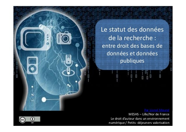 Le statut des données de la recherche : entre droit des bases de données et données publiques Par Lionel Maurel MESHS – Li...