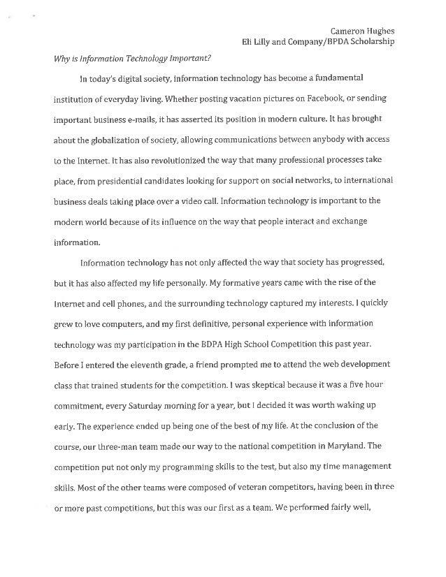 Essay: Eli Lilly Scholarship for BDPA Students, Cameron Hughes (Unive…