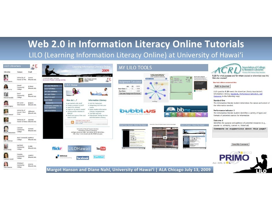 Web 2.0 in Information Literacy Online TutorialsLILO (Learning Information Literacy Online) at University of Hawai'i      ...