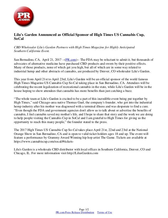 Liluu0027s Garden Announced As Official Sponsor Of High Times US Cannabis Cup,  SoCal CBD Wholesaler ...
