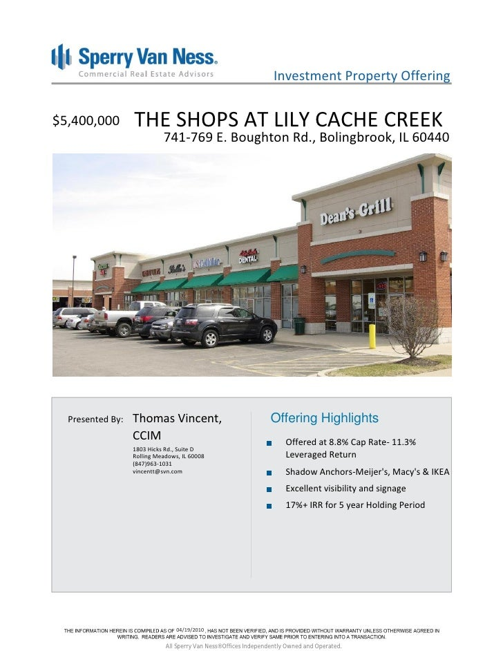Investment Property Offering   $5,400,000        THE SHOPS AT LILY CACHE CREEK                             741-769 E. Boug...