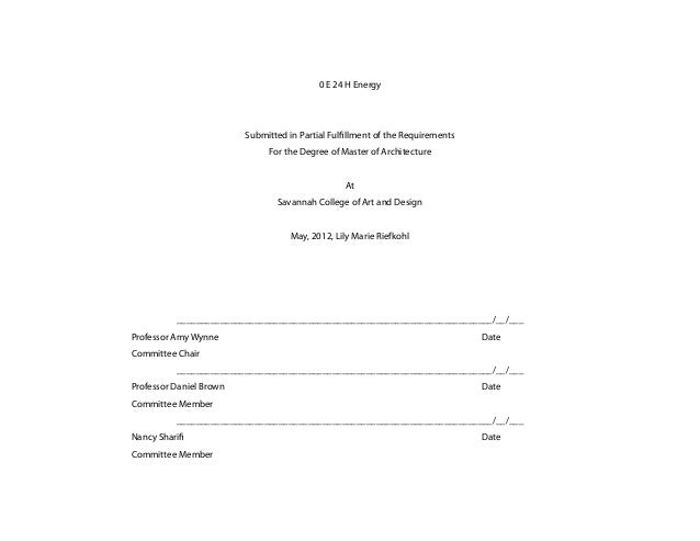 0 E 24 H Energy                         Submitted in Partial Fulfillment of the Requirements                              ...