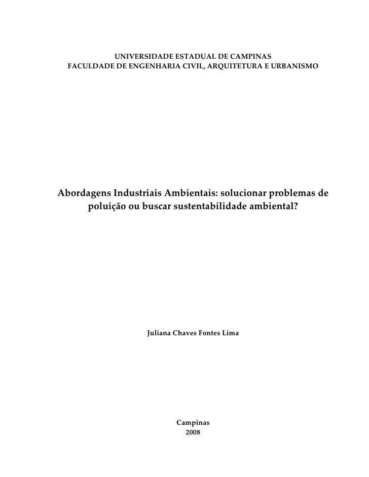 1           UNIVERSIDADE ESTADUAL DE CAMPINAS  FACULDADE DE ENGENHARIA CIVIL, ARQUITETURA E URBANISMOAbordagens Industriai...