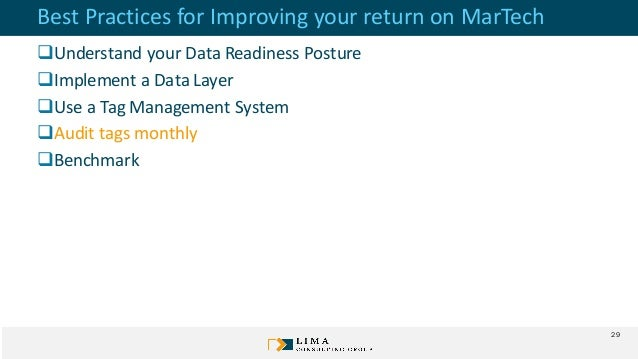 Best Practices for Improving your return on MarTech Understand your Data Readiness Posture Implement a Data Layer Use a...
