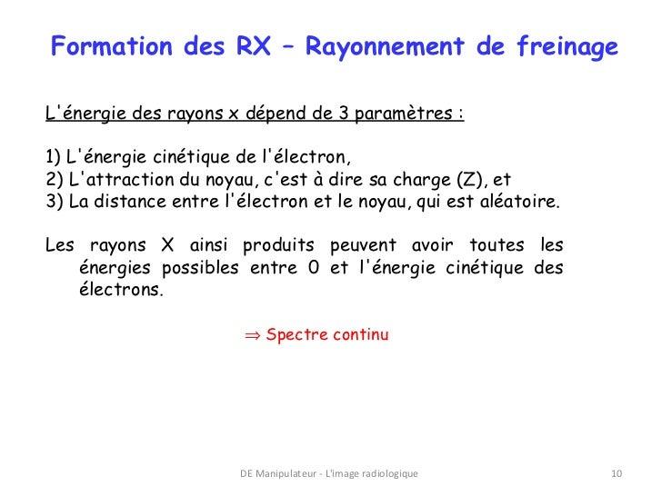 Formation des RX – Rayonnement de freinageLénergie des rayons x dépend de 3 paramètres :1) Lénergie cinétique de lélectron...