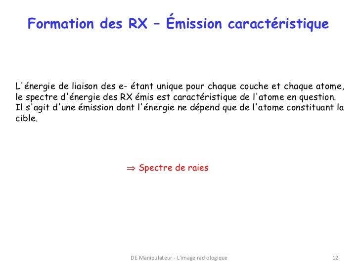 Formation des RX – Émission caractéristiqueLénergie de liaison des e- étant unique pour chaque couche et chaque atome,le s...