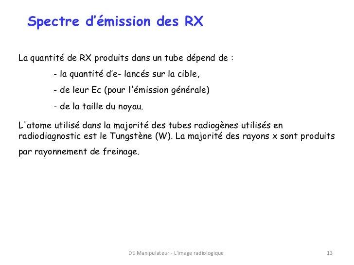 Spectre d'émission des RXLa quantité de RX produits dans un tube dépend de :        - la quantité d'e- lancés sur la cible...