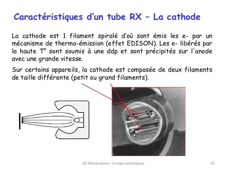 Caractéristiques d'un tube RX – La cathodeLa cathode est 1 filament spiralé d'où sont émis les e- par unmécanisme de therm...