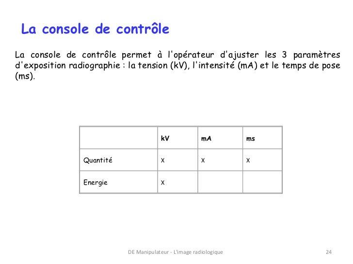 La console de contrôleLa console de contrôle permet à lopérateur dajuster les 3 paramètresdexposition radiographie : la te...