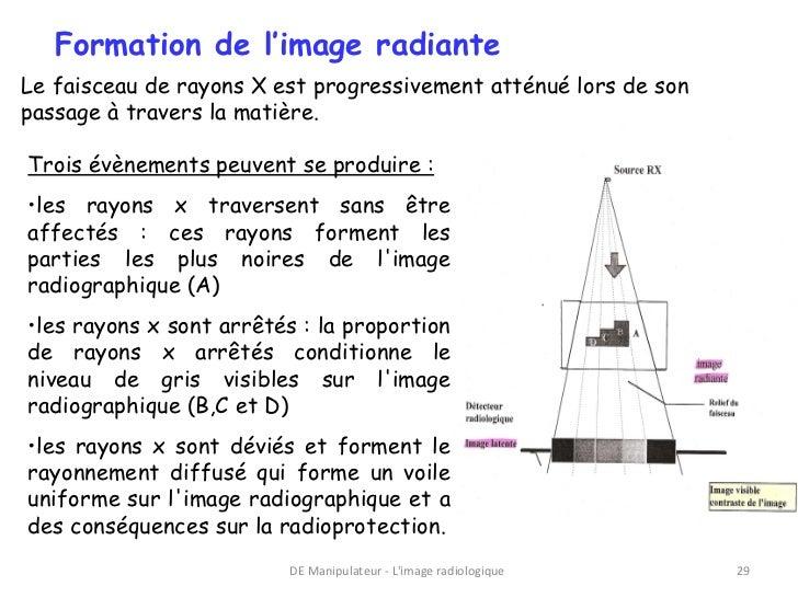 Formation de l'image radianteLe faisceau de rayons X est progressivement atténué lors de sonpassage à travers la matière.T...