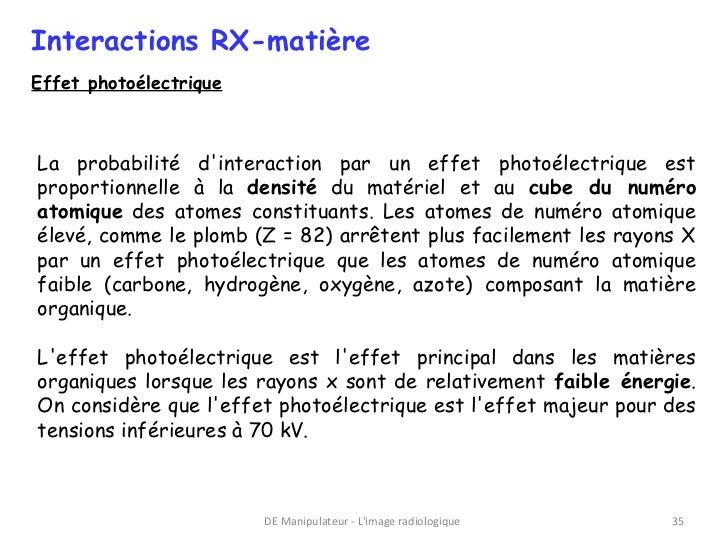 Interactions RX-matièreEffet photoélectriqueLa probabilité dinteraction par un effet photoélectrique estproportionnelle à ...