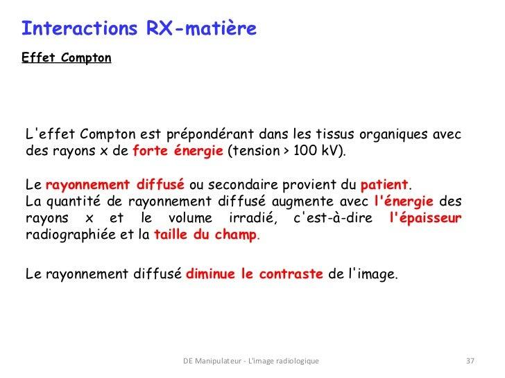Interactions RX-matièreEffet ComptonLeffet Compton est prépondérant dans les tissus organiques avecdes rayons x de forte é...