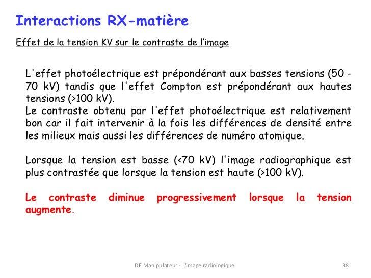 Interactions RX-matièreEffet de la tension KV sur le contraste de l'image  Leffet photoélectrique est prépondérant aux bas...