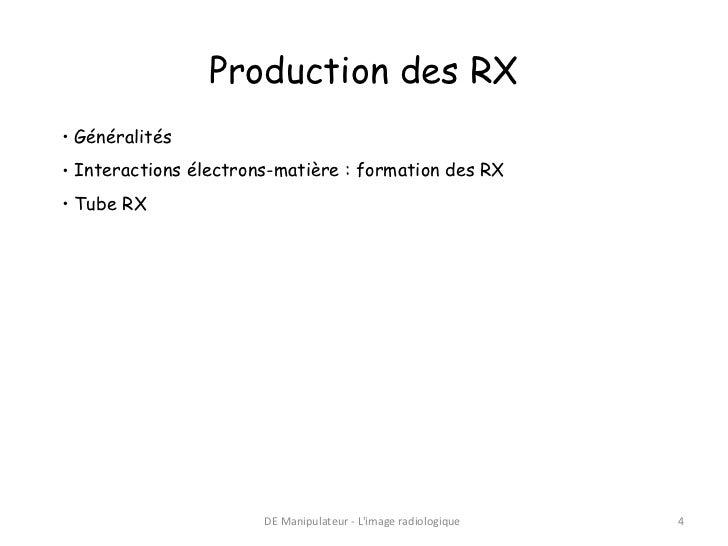 Production des RX• Généralités• Interactions électrons-matière : formation des RX• Tube RX                       DE Manipu...
