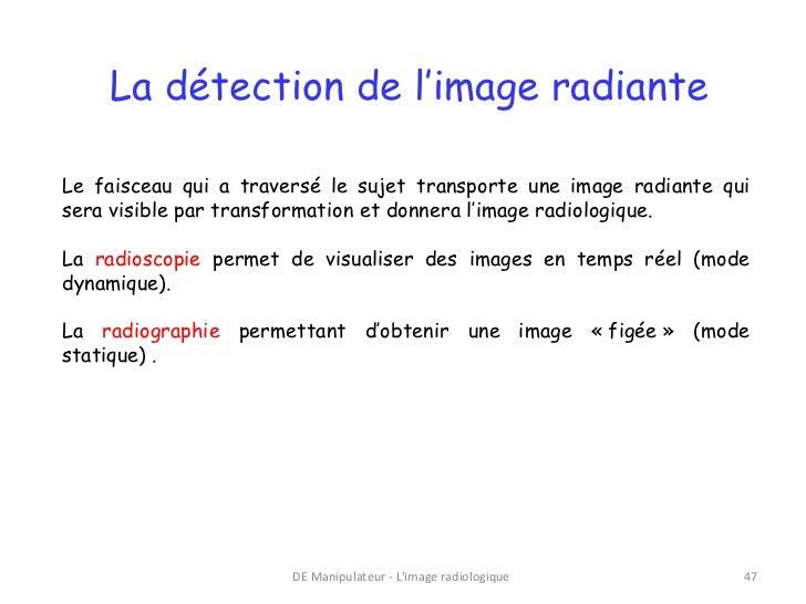 La détection de l'image radianteLe faisceau qui a traversé le sujet transporte une image radiante quisera visible par tran...