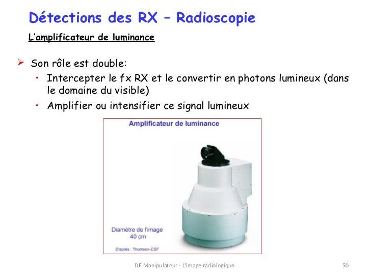 Détections des RX – Radioscopie  L'amplificateur de luminance Son rôle est double:   • Intercepter le fx RX et le convert...