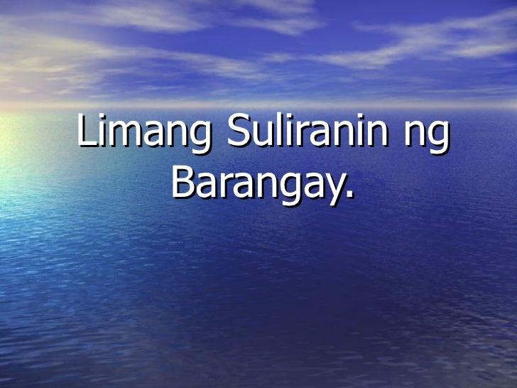 Limang suliranin ng barangay