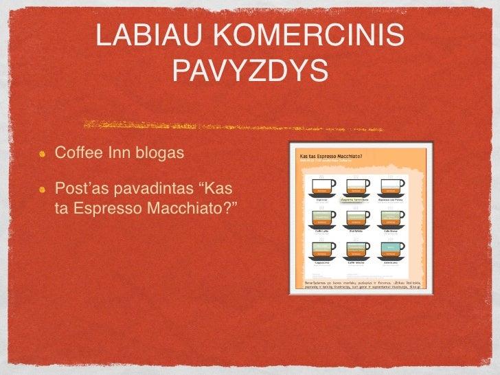 """LABIAU KOMERCINIS          PAVYZDYS  Coffee Inn blogas  Post'as pavadintas """"Kas ta Espresso Macchiato?""""  O baigiamas:"""