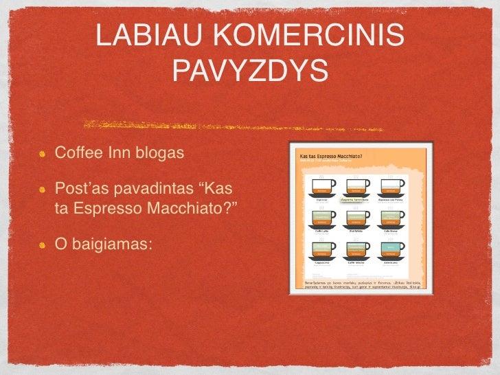 """LABIAU KOMERCINIS           PAVYZDYS  Coffee Inn blogas  Post'as pavadintas """"Kas ta Espresso Macchiato?""""  O baigiamas:  pa..."""