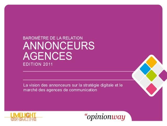 La vision des annonceurs sur la stratégie digitale et lemarché des agences de communication