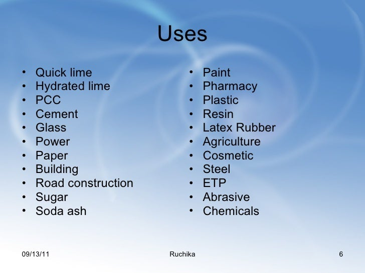 What are some uses of quicklime?