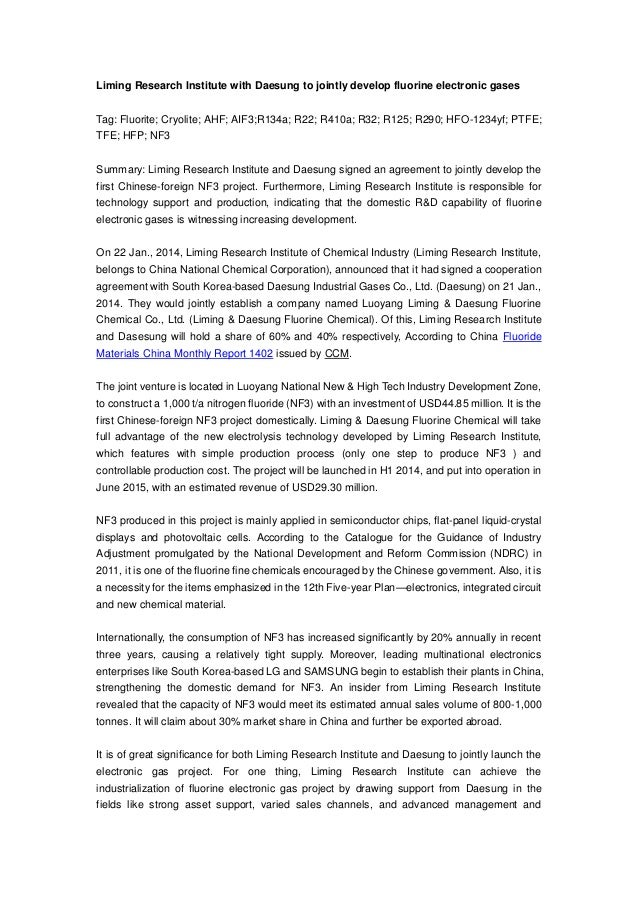 Liming Research Institute with Daesung to jointly develop fluorine electronic gases Tag: Fluorite; Cryolite; AHF; AIF3;R13...
