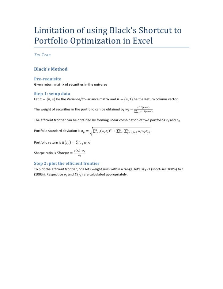 Limitation of using Black's Shortcut to Portfolio Optimization in Excel Tai Tran   Black's Method  Pre-requisite Given ret...
