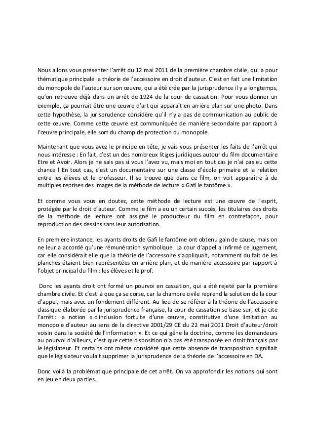 Nous allons vous présenter l'arrêt du 12 mai 2011 de la première chambre civile, qui a pour thématique principale la théor...