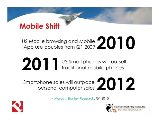 Mobile Shift 2012Smartphone sales will outpace personal computer sales – Morgan Stanley Research, Q1 2010 2011US Smartphon...