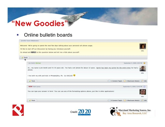 " Online bulletin boards Credit: ""New Goodies"""