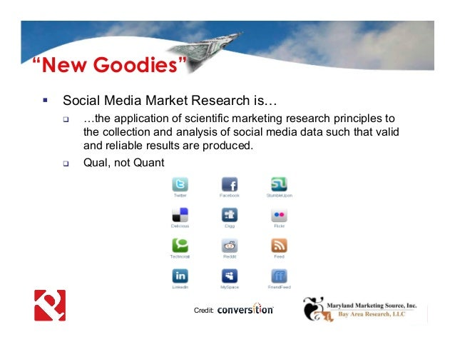 Social Media Market Research is…  …the application of scientific marketing research principles to the collection and an...