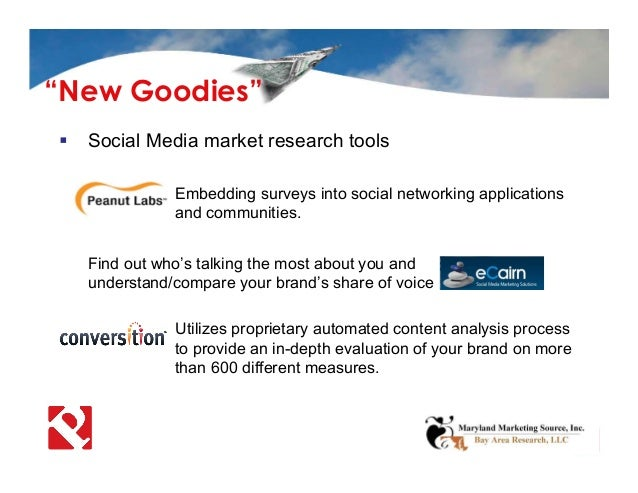  Social Media market research tools  Embedding surveys into social networking applications and communities. Find out who...