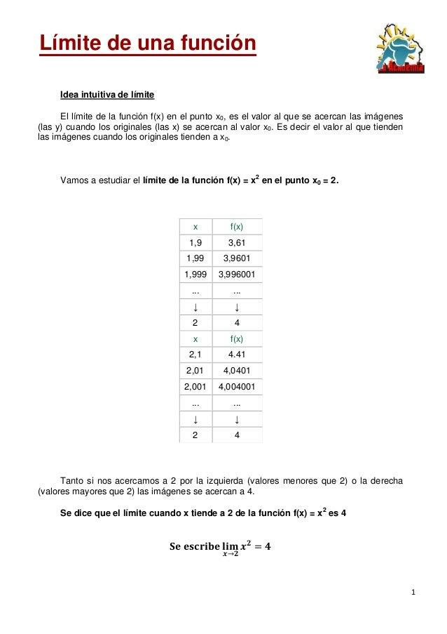 1 Idea intuitiva de límite El límite de la función f(x) en el punto x0, es el valor al que se acercan las imágenes (las y)...