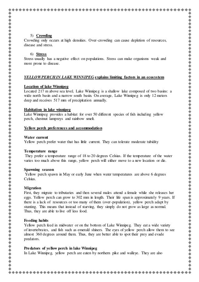 Limiting Factors Worksheet