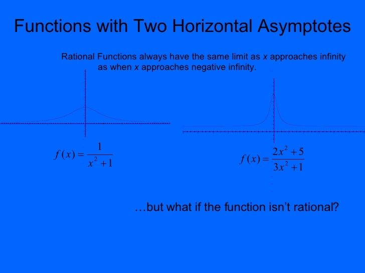 Functions with Two Horizontal Asymptotes Rational Functions always have the same limit as  x  approaches infinity  as when...