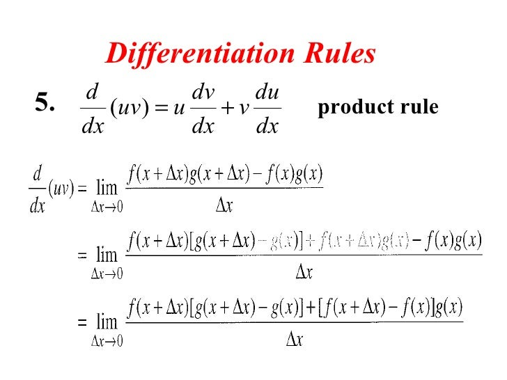 limits derivatives rule rules differentiation