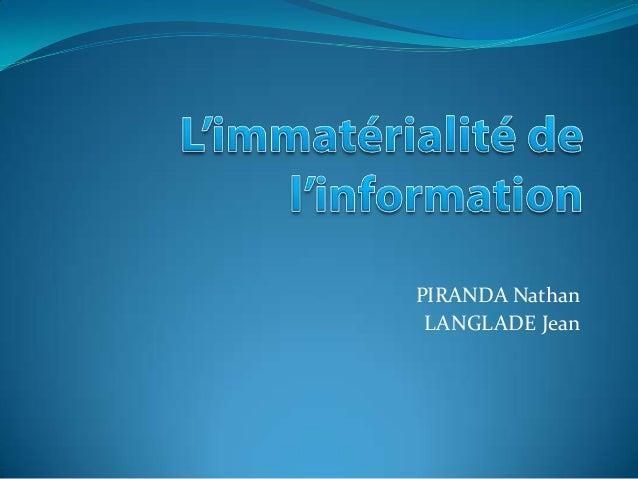 PIRANDA Nathan LANGLADE Jean