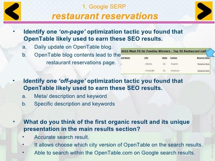 OpenTable Analysis - Google open table