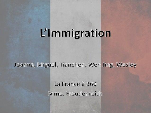 Plan 1. Informations générales 2. Opinions pour l'immigration 3. Opinions contre l'immigration 4. Fameux immigrants en Fra...