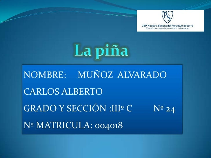 NOMBRE:    MUÑOZ ALVARADO CARLOS ALBERTO GRADO Y SECCIÓN :IIIº C   Nº 24 Nº MATRICULA: 004018