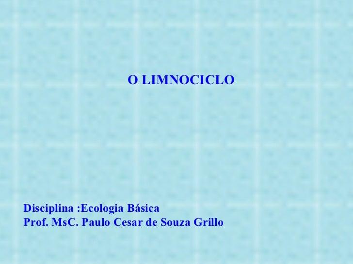 O LIMNOCICLO Disciplina :Ecologia Básica Prof. MsC. Paulo Cesar de Souza Grillo