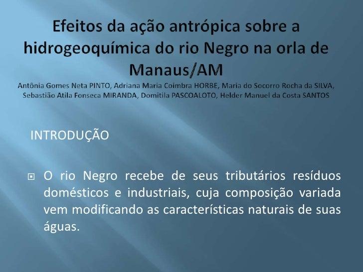 Efeitos da ação antrópica sobre a hidrogeoquímica do rio Negro na orla de Manaus/AMAntônia Gomes Neta PINTO, Adriana Maria...