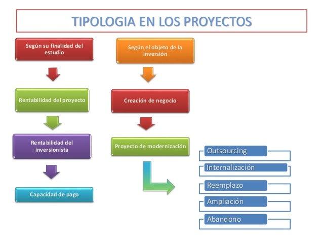 TIPOLOGIA EN LOS PROYECTOS Según su finalidad del estudio Rentabilidad del proyecto Rentabilidad del inversionista Capacid...