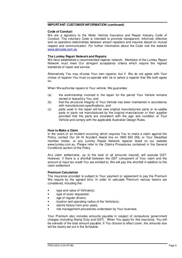 Limousine Insurance Pds Policy Wording Lumley