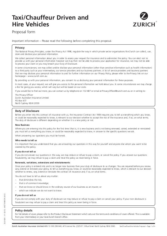 Limousine Insurance Proposal Form Zurich – Proposal Form