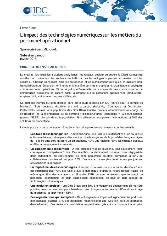 février 2015,IDC #FR369 Livre Blanc L'impact des technologies numériques sur les métiers du personnel opérationnel Sponsor...