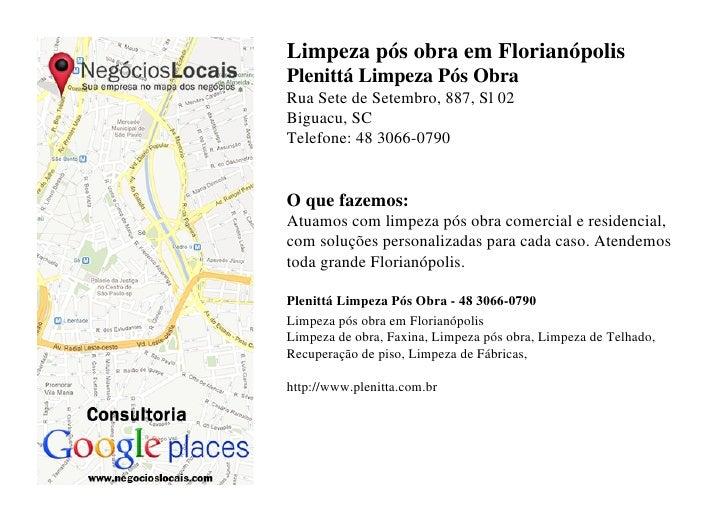 Limpeza pós obra em FlorianópolisPlenittá Limpeza Pós ObraRua Sete de Setembro, 887, Sl 02Biguacu, SCTelefone: 48 3066-079...