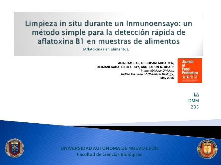 Limpieza in situ durante un Inmunoensayo: un método simple para la detección rápida de aflatoxina B1 en muestras de alimen...