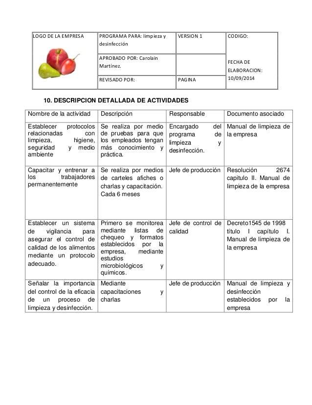 Limpieza y desinfeccion for Manual de limpieza y desinfeccion en restaurantes