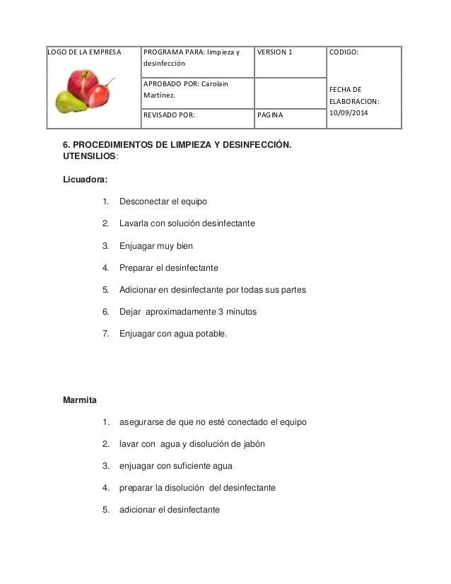 Limpieza y desinfeccion for Manual de limpieza y desinfeccion para una cocina